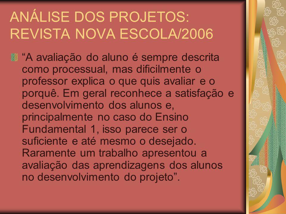ANÁLISE DOS PROJETOS: REVISTA NOVA ESCOLA/2006 A avaliação do aluno é sempre descrita como processual, mas dificilmente o professor explica o que quis