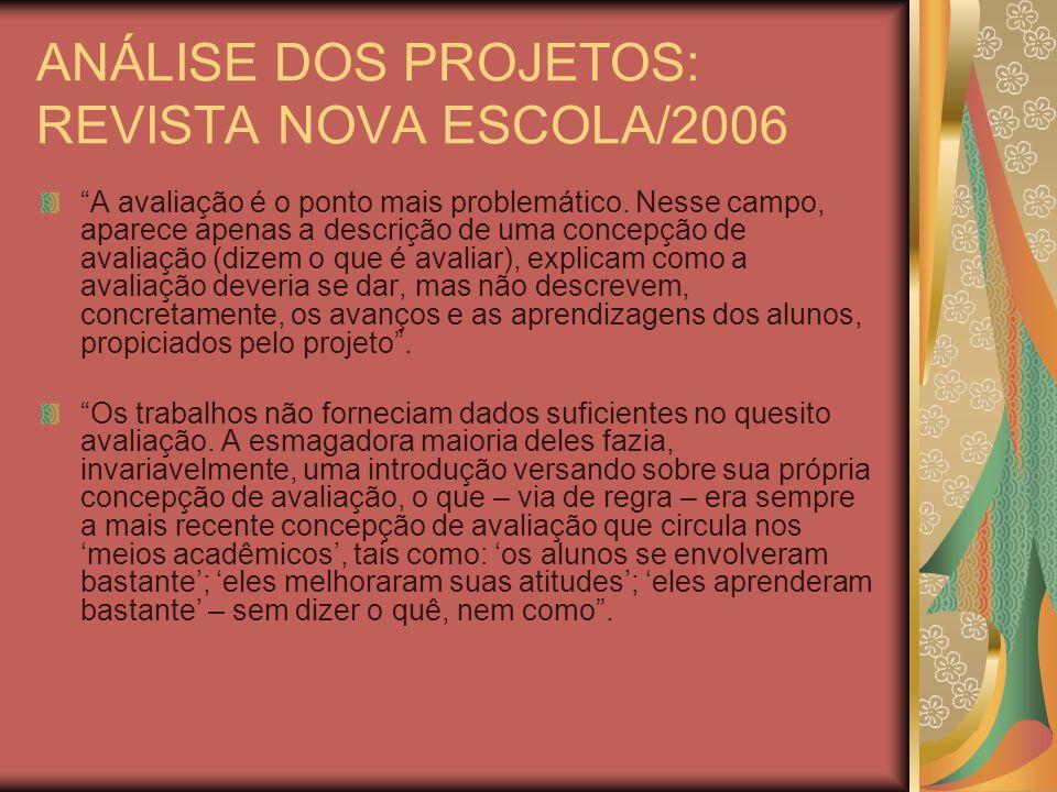 ANÁLISE DOS PROJETOS: REVISTA NOVA ESCOLA/2006 A avaliação é o ponto mais problemático.