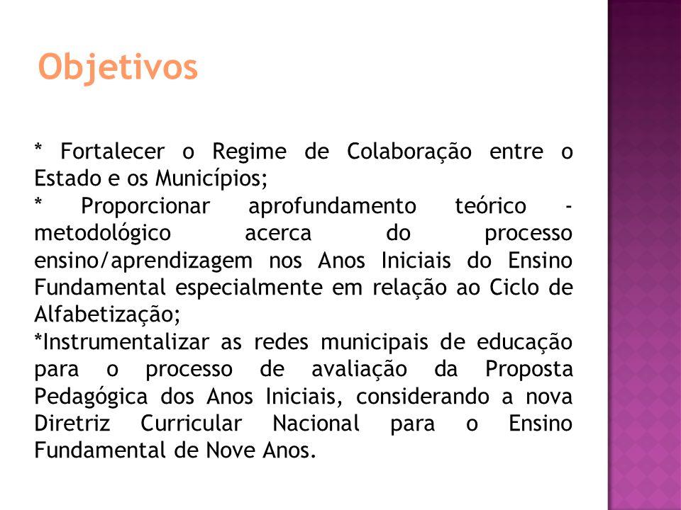 Objetivos * Fortalecer o Regime de Colaboração entre o Estado e os Municípios; * Proporcionar aprofundamento teórico - metodológico acerca do processo