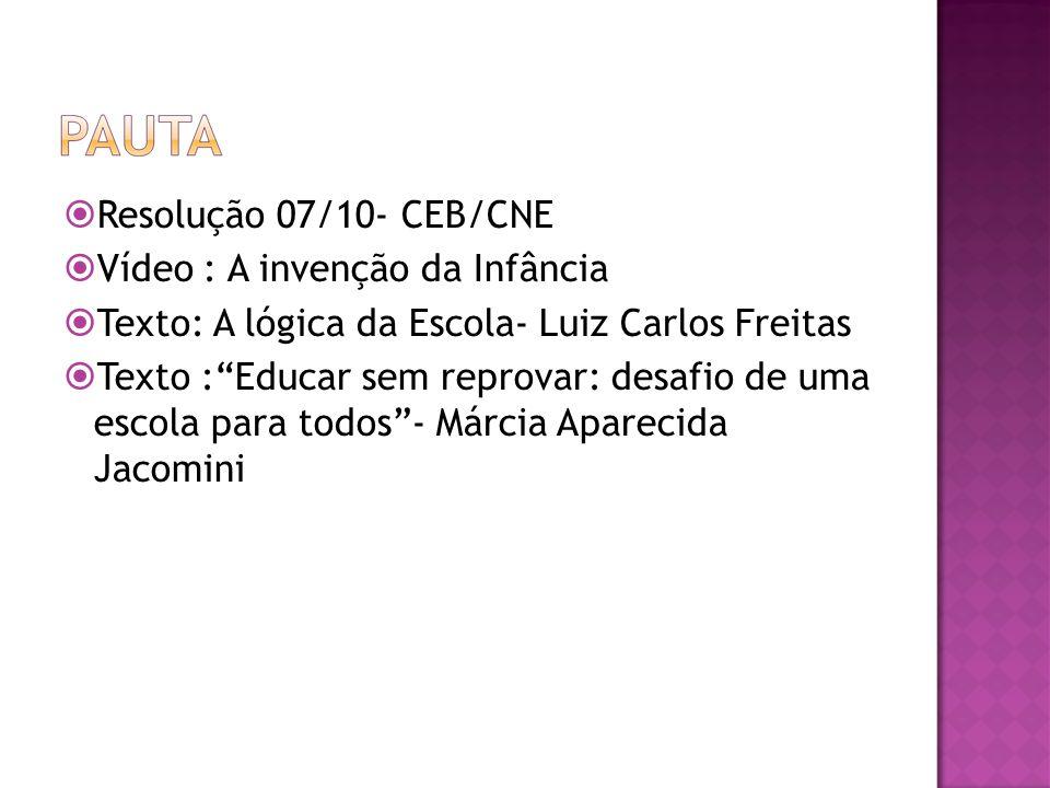 Resolução 07/10- CEB/CNE Vídeo : A invenção da Infância Texto: A lógica da Escola- Luiz Carlos Freitas Texto :Educar sem reprovar: desafio de uma escola para todos- Márcia Aparecida Jacomini