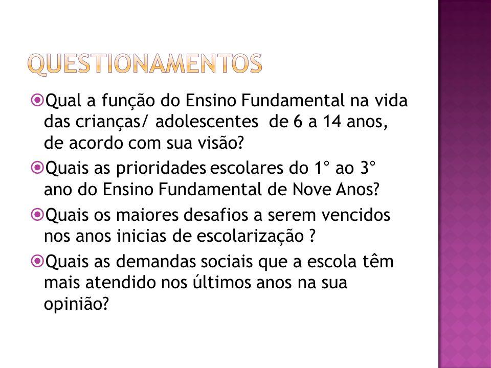 Qual a função do Ensino Fundamental na vida das crianças/ adolescentes de 6 a 14 anos, de acordo com sua visão? Quais as prioridades escolares do 1° a