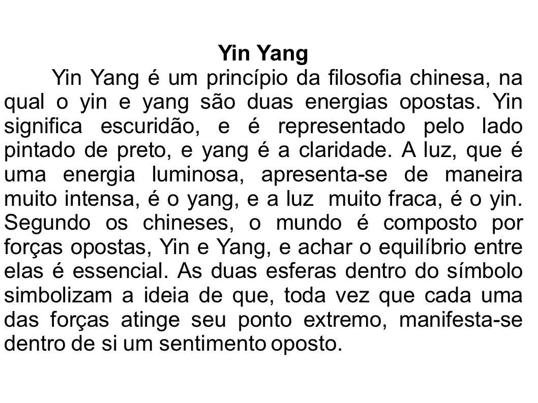 Yin Yang Yin Yang é um princípio da filosofia chinesa, na qual o yin e yang são duas energias opostas. Yin significa escuridão, e é representado pelo