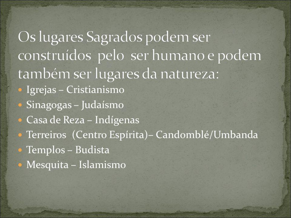 Igrejas – Cristianismo Sinagogas – Judaísmo Casa de Reza – Indígenas Terreiros (Centro Espírita)– Candomblé/Umbanda Templos – Budista Mesquita – Islamismo