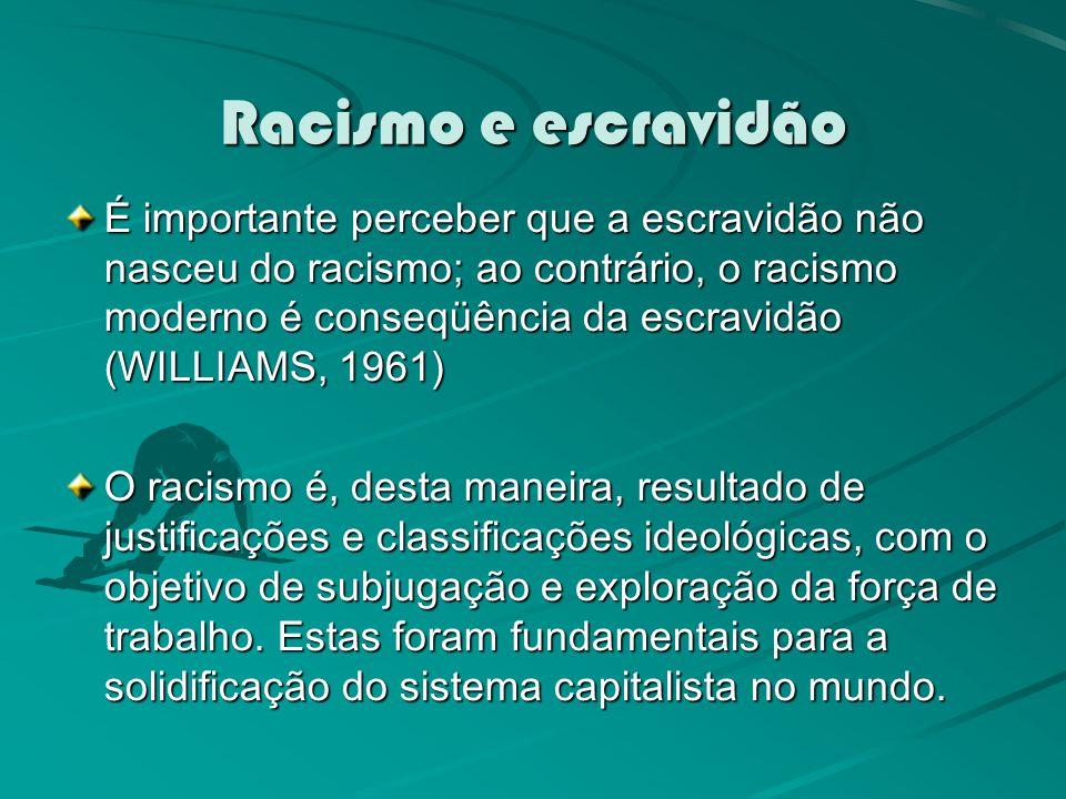 Racismo e escravidão É importante perceber que a escravidão não nasceu do racismo; ao contrário, o racismo moderno é conseqüência da escravidão (WILLIAMS, 1961) O racismo é, desta maneira, resultado de justificações e classificações ideológicas, com o objetivo de subjugação e exploração da força de trabalho.