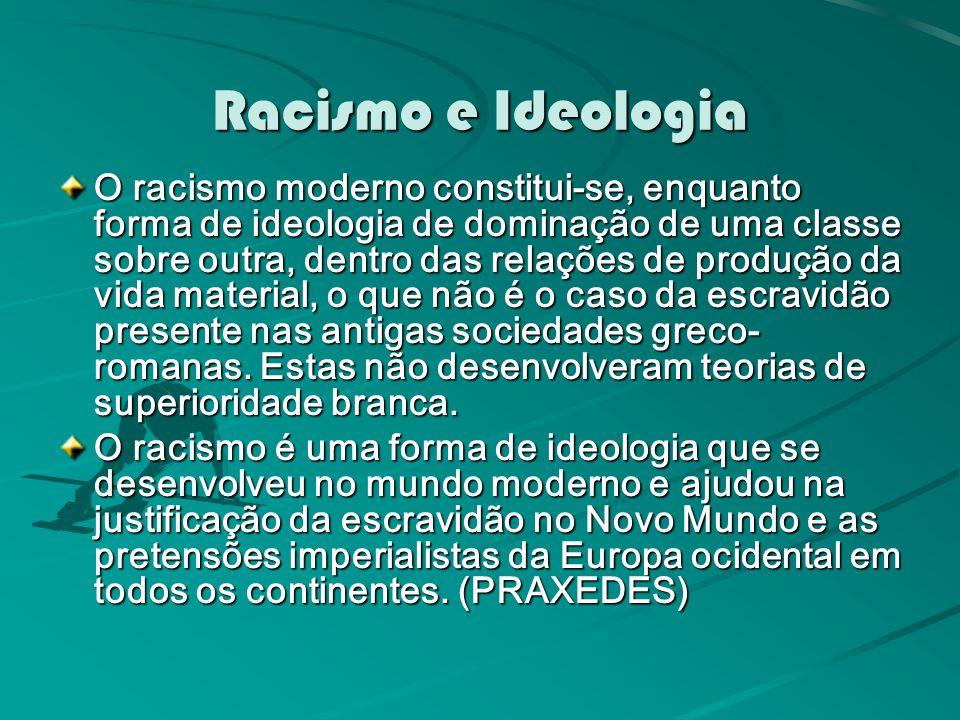 Racismo e Ideologia O racismo moderno constitui-se, enquanto forma de ideologia de dominação de uma classe sobre outra, dentro das relações de produção da vida material, o que não é o caso da escravidão presente nas antigas sociedades greco- romanas.