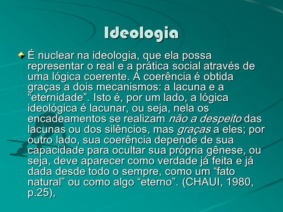 Ideologia É nuclear na ideologia, que ela possa representar o real e a prática social através de uma lógica coerente.