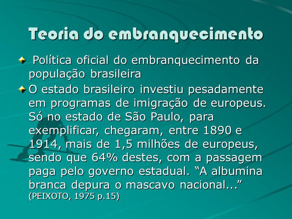Teoria do embranquecimento Política oficial do embranquecimento da população brasileira Política oficial do embranquecimento da população brasileira O estado brasileiro investiu pesadamente em programas de imigração de europeus.