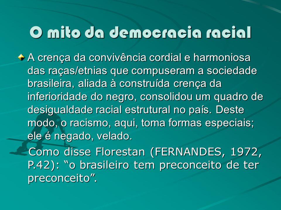 O mito da democracia racial A crença da convivência cordial e harmoniosa das raças/etnias que compuseram a sociedade brasileira, aliada à construída c