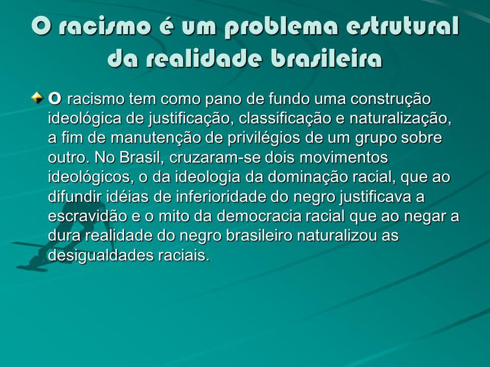 O racismo é um problema estrutural da realidade brasileira O racismo tem como pano de fundo uma construção ideológica de justificação, classificação e naturalização, a fim de manutenção de privilégios de um grupo sobre outro.