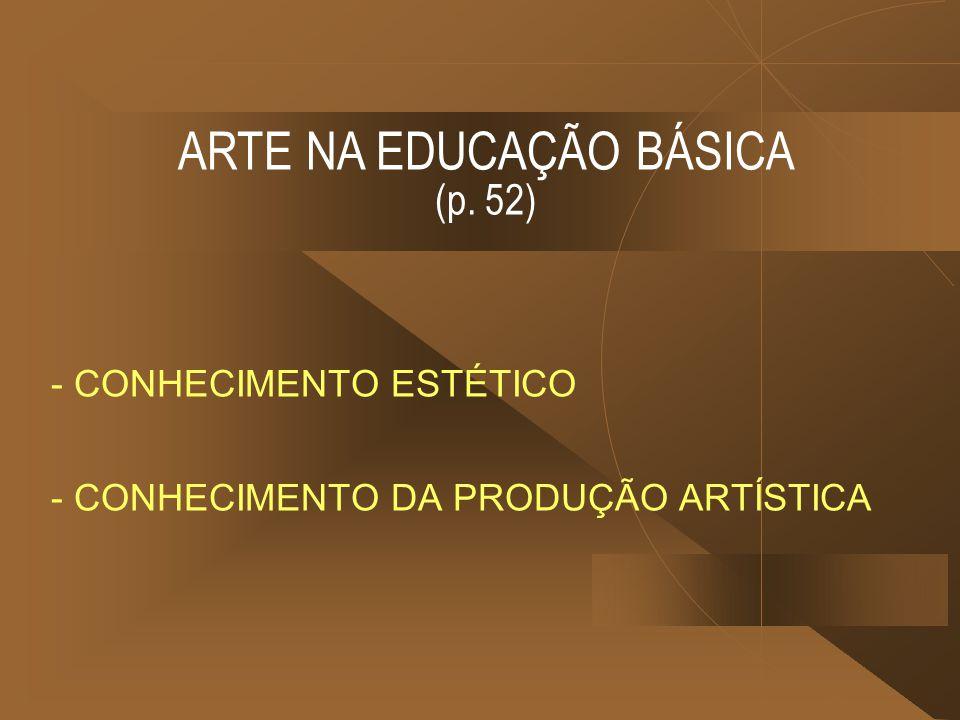 - CONHECIMENTO ESTÉTICO - CONHECIMENTO DA PRODUÇÃO ARTÍSTICA ARTE NA EDUCAÇÃO BÁSICA (p. 52)