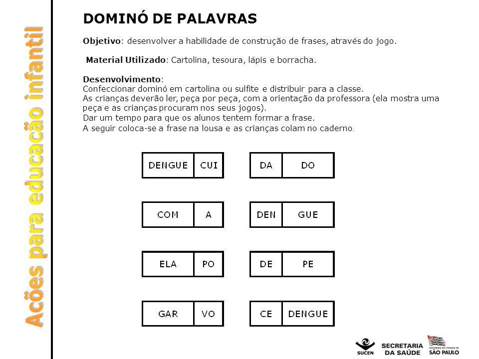 DOMINÓ DE PALAVRAS Objetivo: desenvolver a habilidade de construção de frases, através do jogo. Material Utilizado: Cartolina, tesoura, lápis e borrac