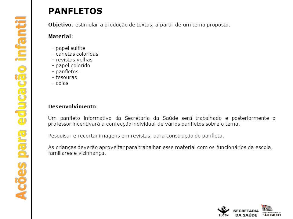 PANFLETOS Objetivo: estimular a produção de textos, a partir de um tema proposto. Material: - papel sulfite - canetas coloridas - revistas velhas - pa