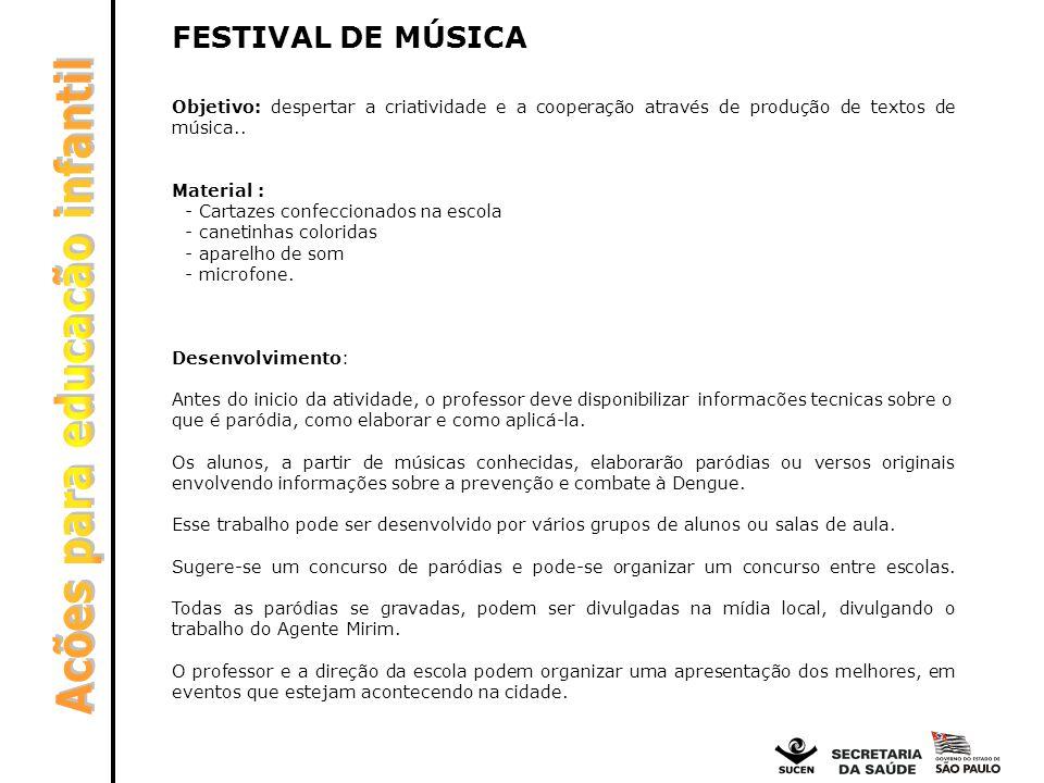 FESTIVAL DE MÚSICA Objetivo: despertar a criatividade e a cooperação através de produção de textos de música.. Material : - Cartazes confeccionados na