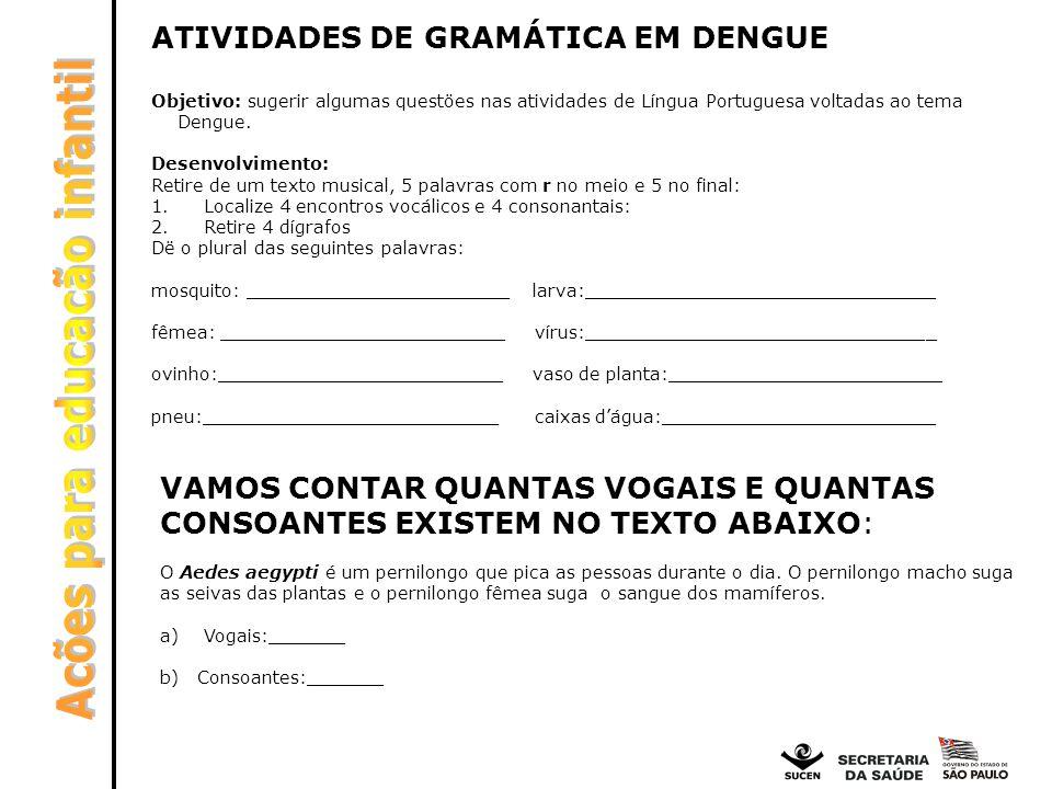 ATIVIDADES DE GRAMÁTICA EM DENGUE Objetivo: sugerir algumas questöes nas atividades de Língua Portuguesa voltadas ao tema Dengue. Desenvolvimento: Ret