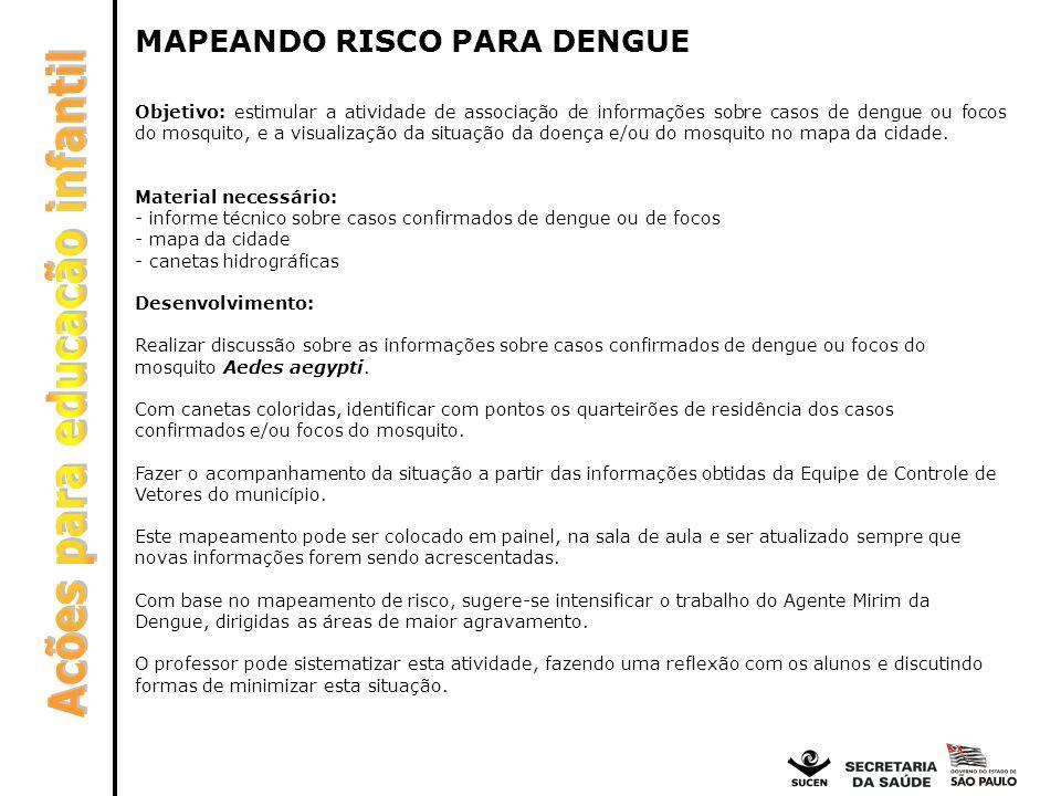 MAPEANDO RISCO PARA DENGUE Objetivo: estimular a atividade de associação de informações sobre casos de dengue ou focos do mosquito, e a visualização d