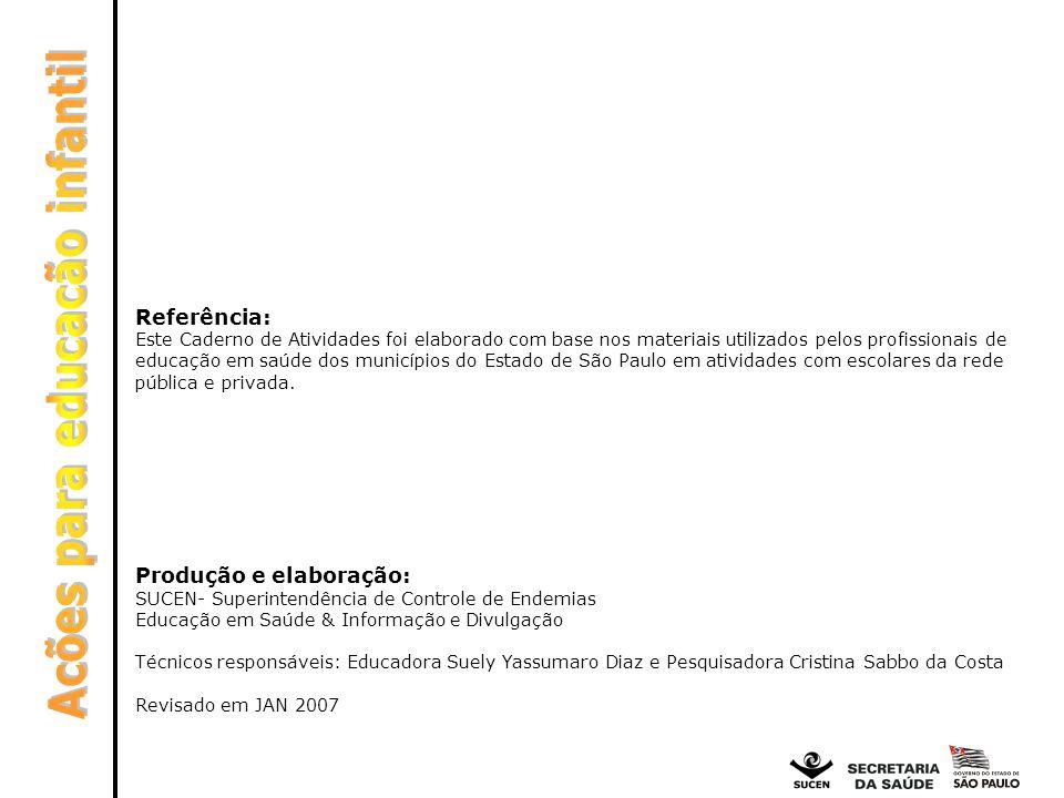 Referência: Este Caderno de Atividades foi elaborado com base nos materiais utilizados pelos profissionais de educação em saúde dos municípios do Esta