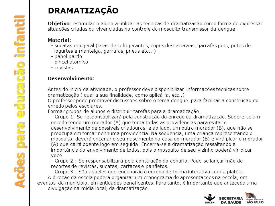 DRAMATIZAÇÃO Objetivo: estimular o aluno a utilizar as técnicas de dramatizacão como forma de expressar situacões criadas ou vivenciadas no controle d