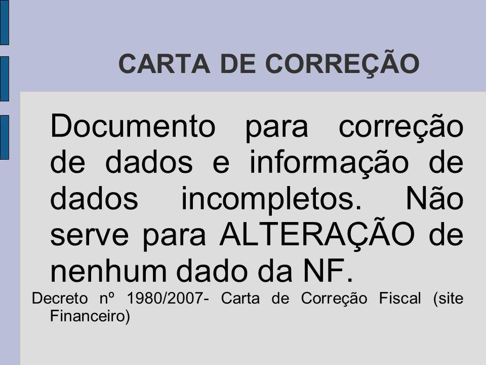 CARTA DE CORREÇÃO Documento para correção de dados e informação de dados incompletos.