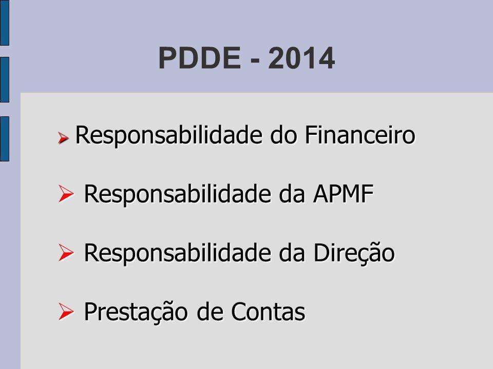 PDDE - 2014 Responsabilidade do Financeiro Responsabilidade do Financeiro Responsabilidade da APMF Responsabilidade da APMF Responsabilidade da Direção Responsabilidade da Direção Prestação de Contas Prestação de Contas