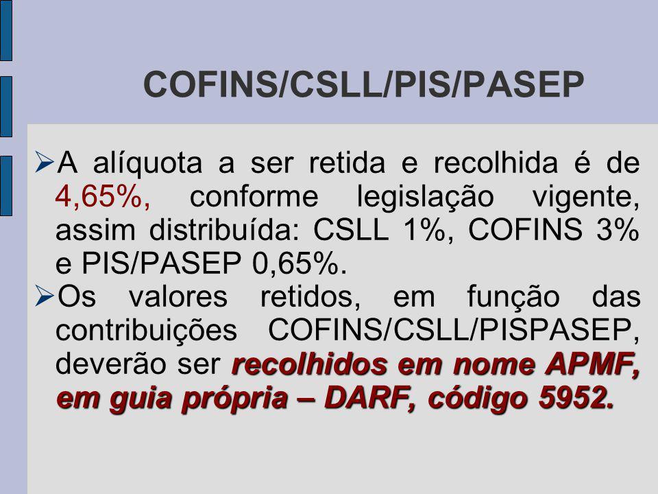 A alíquota a ser retida e recolhida é de 4,65%, conforme legislação vigente, assim distribuída: CSLL 1%, COFINS 3% e PIS/PASEP 0,65%.