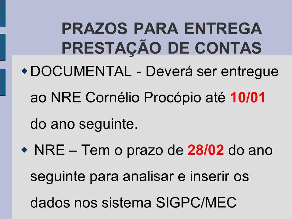PRAZOS PARA ENTREGA PRESTAÇÃO DE CONTAS DOCUMENTAL - Deverá ser entregue ao NRE Cornélio Procópio até 10/01 do ano seguinte.