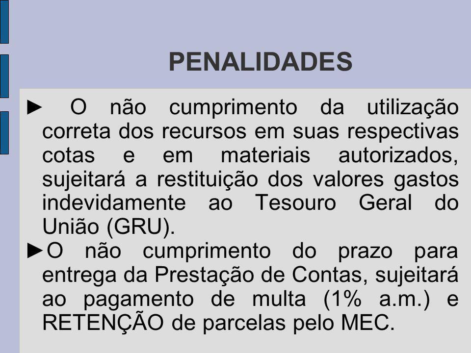 PENALIDADES O não cumprimento da utilização correta dos recursos em suas respectivas cotas e em materiais autorizados, sujeitará a restituição dos valores gastos indevidamente ao Tesouro Geral do União (GRU).
