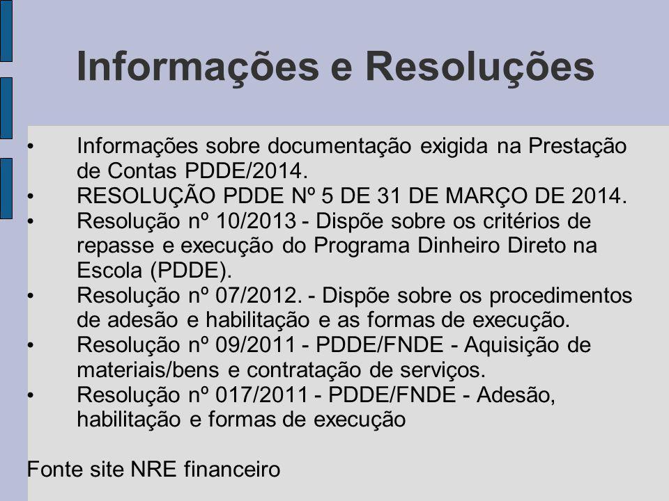 Informações e Resoluções Informações sobre documentação exigida na Prestação de Contas PDDE/2014.