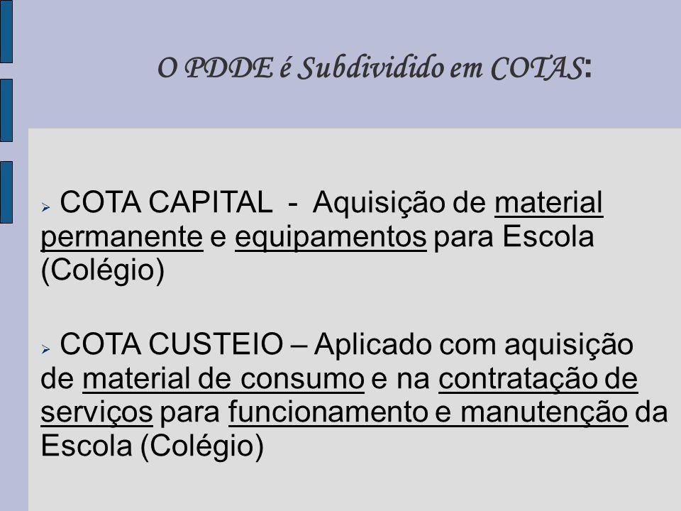 O PDDE é Subdividido em COTAS : COTA CAPITAL - Aquisição de material permanente e equipamentos para Escola (Colégio) COTA CUSTEIO – Aplicado com aquisição de material de consumo e na contratação de serviços para funcionamento e manutenção da Escola (Colégio)
