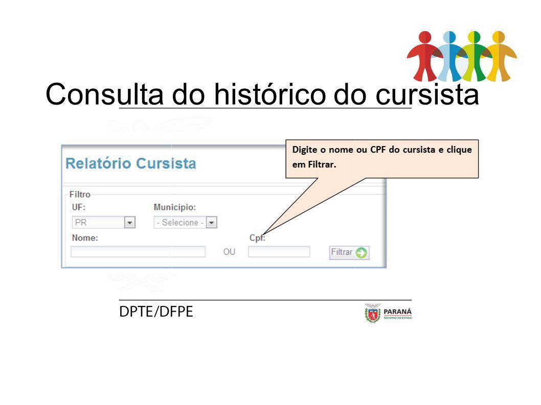 Consulta do histórico do cursista