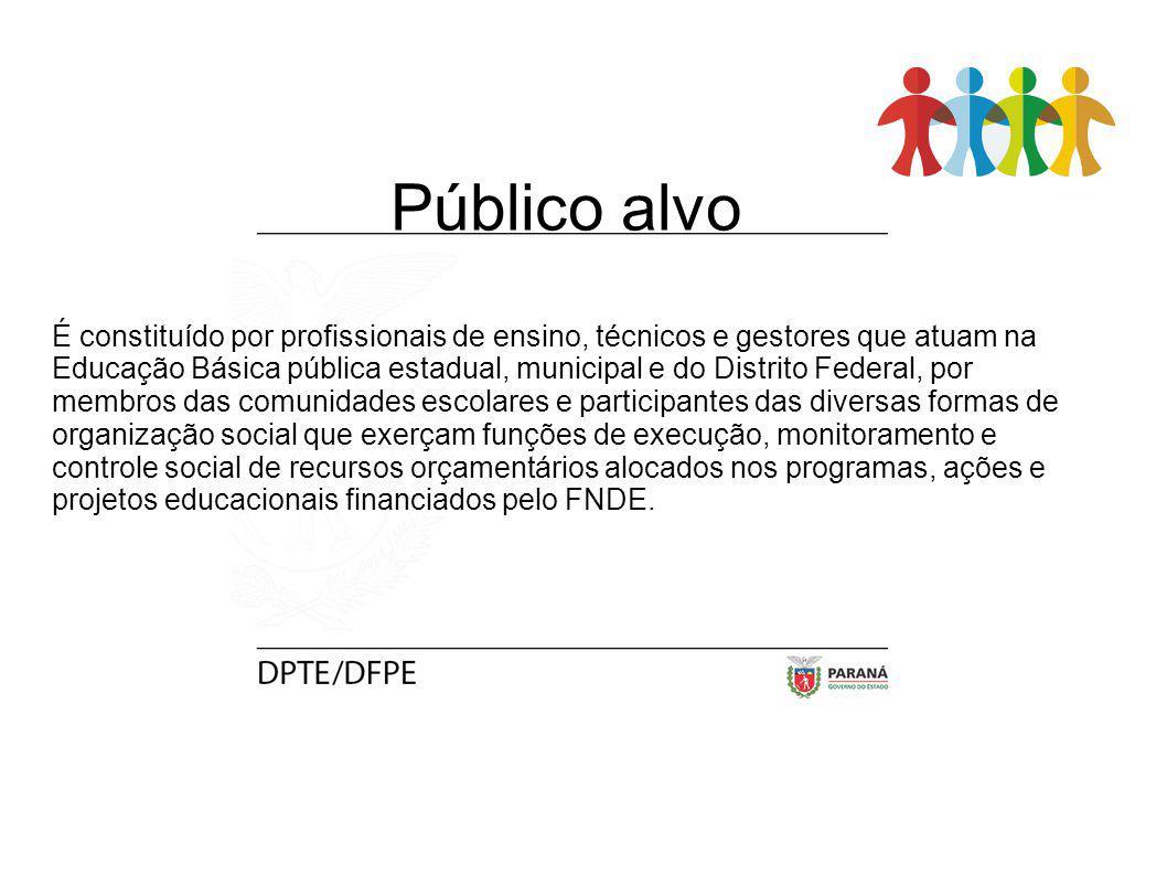 Público alvo É constituído por profissionais de ensino, técnicos e gestores que atuam na Educação Básica pública estadual, municipal e do Distrito Fed