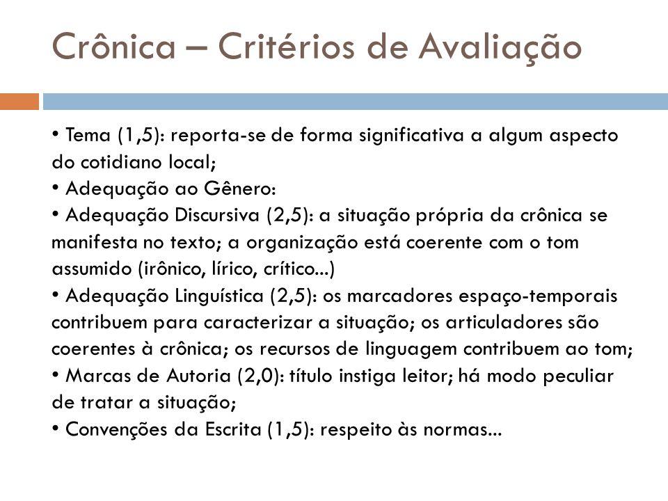 Crônica – Critérios de Avaliação Tema (1,5): reporta-se de forma significativa a algum aspecto do cotidiano local; Adequação ao Gênero: Adequação Disc