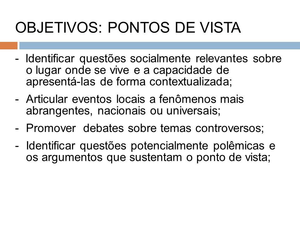 OBJETIVOS: PONTOS DE VISTA - Identificar questões socialmente relevantes sobre o lugar onde se vive e a capacidade de apresentá-las de forma contextua