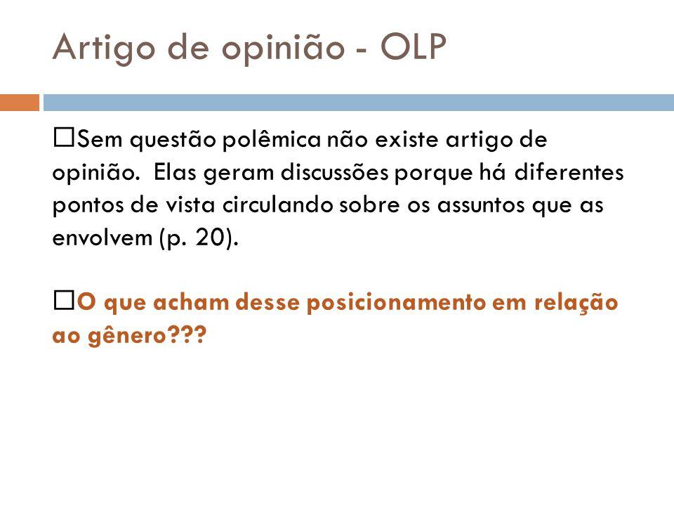 Artigo de opinião - OLP Sem questão polêmica não existe artigo de opinião. Elas geram discussões porque há diferentes pontos de vista circulando sobre