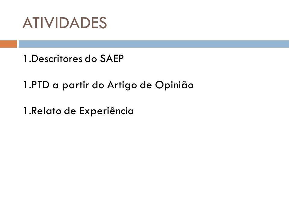 ATIVIDADES 1.Descritores do SAEP 1.PTD a partir do Artigo de Opinião 1.Relato de Experiência E Ação tratégias d