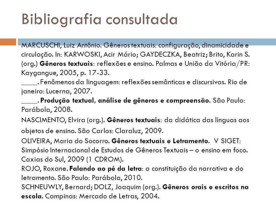 Bibliografia consultada MARCUSCHI, Luiz Antônio. Gêneros textuais: configuração, dinamicidade e circulação. In: KARWOSKI, Acir Mário; GAYDECZKA, Beatr