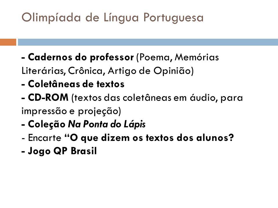 Olimpíada de Língua Portuguesa - Cadernos do professor (Poema, Memórias Literárias, Crônica, Artigo de Opinião) - Coletâneas de textos - CD-ROM (texto
