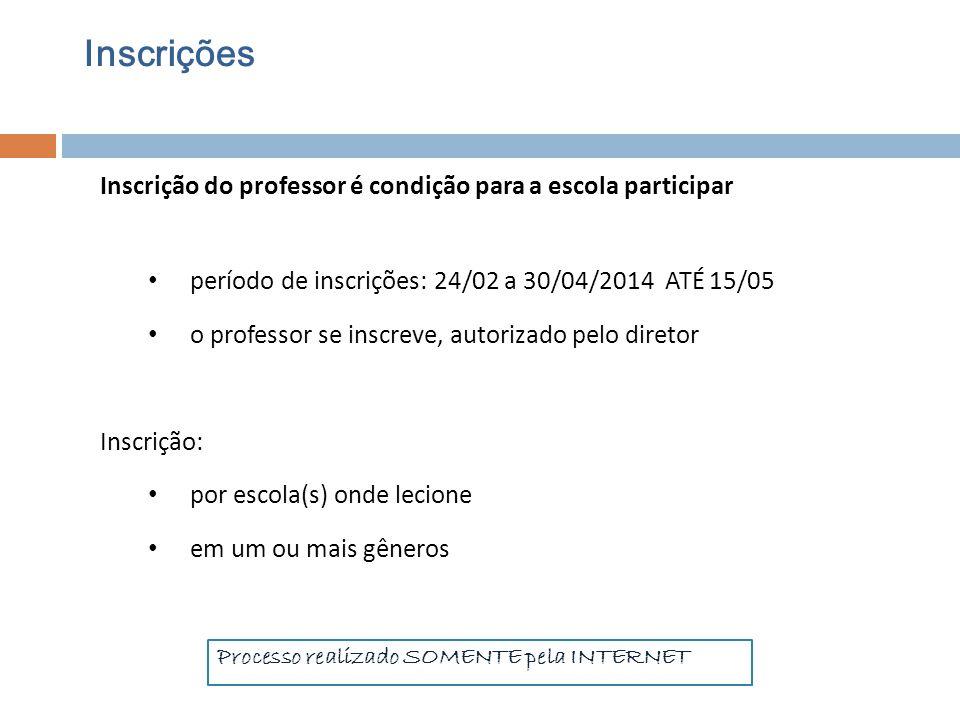 Inscrições Inscrição do professor é condição para a escola participar período de inscrições: 24/02 a 30/04/2014 ATÉ 15/05 o professor se inscreve, aut