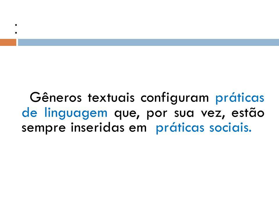 Práticas sociais e Práticas de linguagem Gêneros textuais configuram práticas de linguagem que, por sua vez, estão sempre inseridas em práticas sociais.