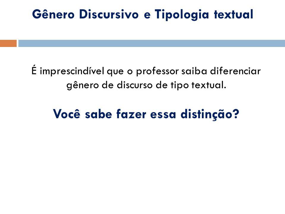 Gênero Discursivo e Tipologia textual É imprescindível que o professor saiba diferenciar gênero de discurso de tipo textual. Você sabe fazer essa dist