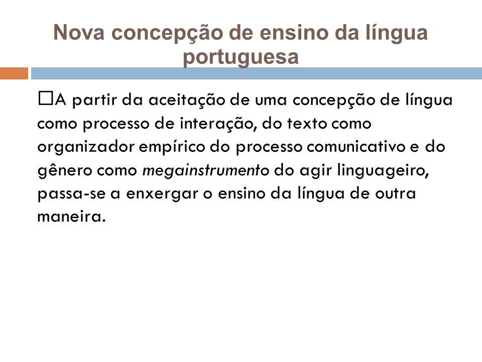 A partir da aceitação de uma concepção de língua como processo de interação, do texto como organizador empírico do processo comunicativo e do gênero como megainstrumento do agir linguageiro, passa-se a enxergar o ensino da língua de outra maneira.