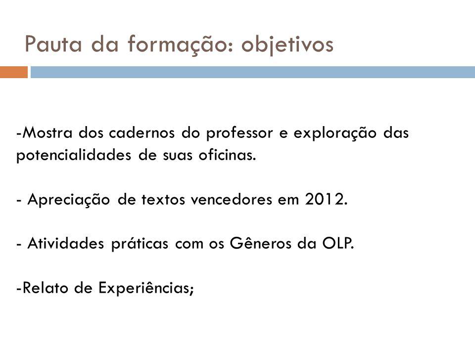 -Mostra dos cadernos do professor e exploração das potencialidades de suas oficinas. - Apreciação de textos vencedores em 2012. - Atividades práticas