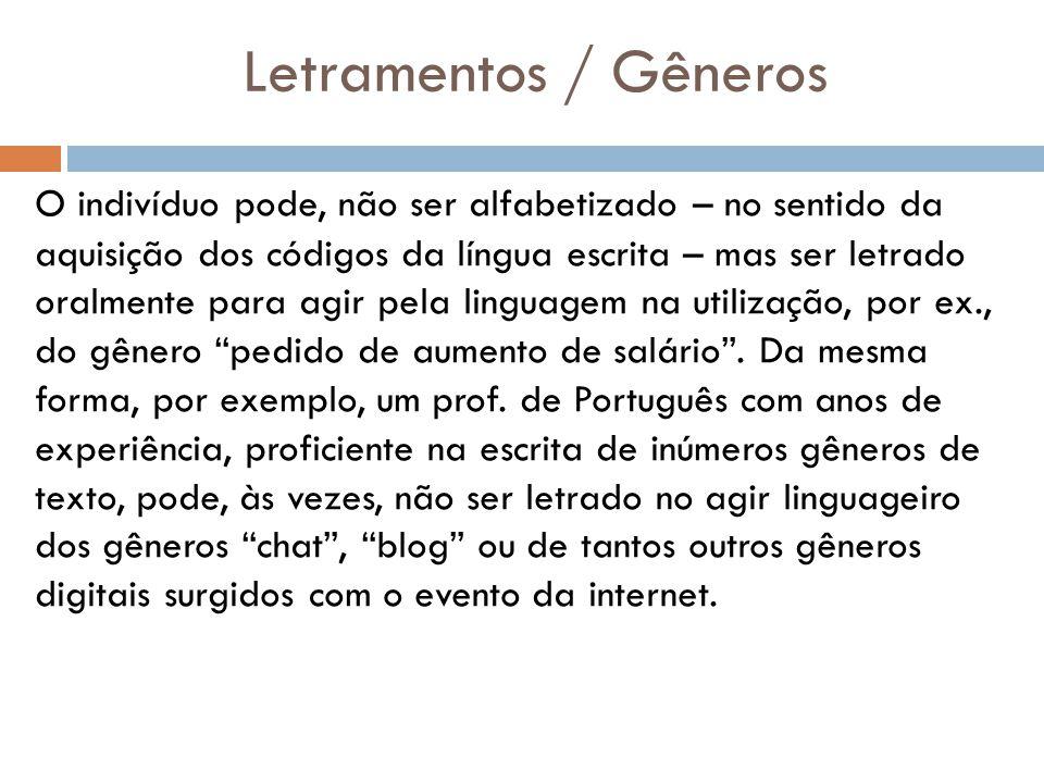 Letramentos / Gêneros O indivíduo pode, não ser alfabetizado – no sentido da aquisição dos códigos da língua escrita – mas ser letrado oralmente para