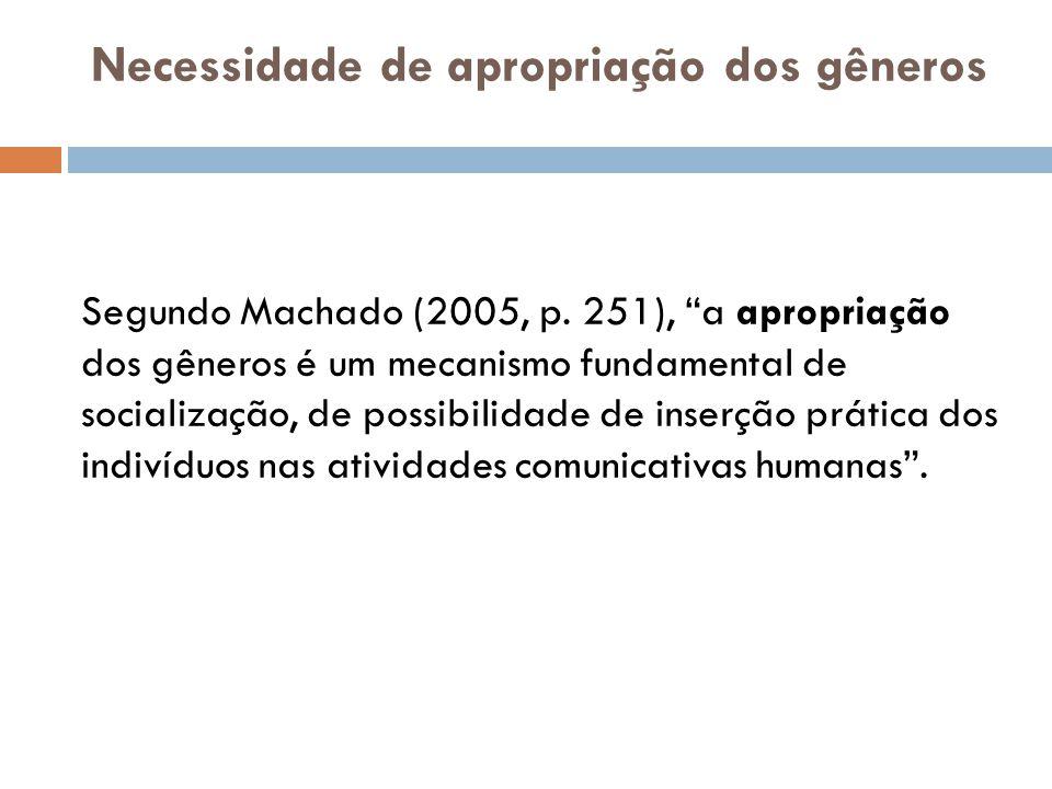 Necessidade de apropriação dos gêneros Segundo Machado (2005, p.