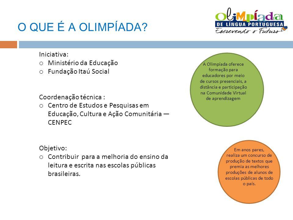 O QUE É A OLIMPÍADA? Iniciativa: o Ministério da Educação o Fundação Itaú Social Coordenação técnica : o Centro de Estudos e Pesquisas em Educação, Cu