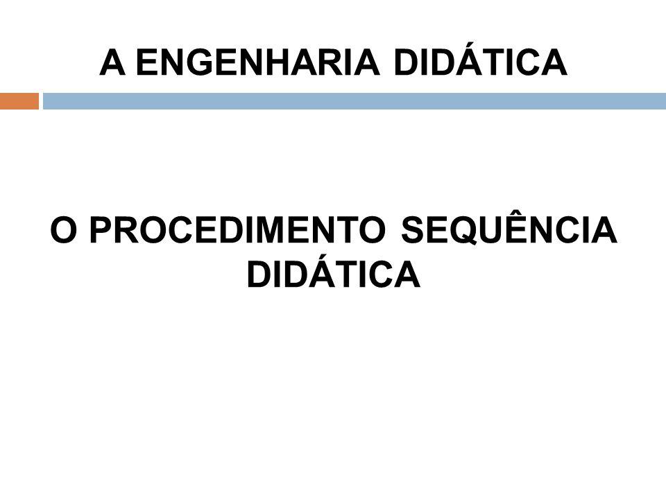 A ENGENHARIA DIDÁTICA O PROCEDIMENTO SEQUÊNCIA DIDÁTICA