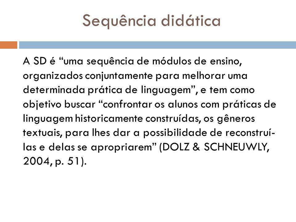 Sequência didática A SD é uma sequência de módulos de ensino, organizados conjuntamente para melhorar uma determinada prática de linguagem, e tem como