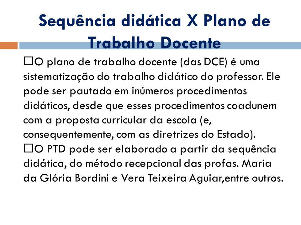 Sequência didática X Plano de Trabalho Docente O plano de trabalho docente (das DCE) é uma sistematização do trabalho didático do professor.
