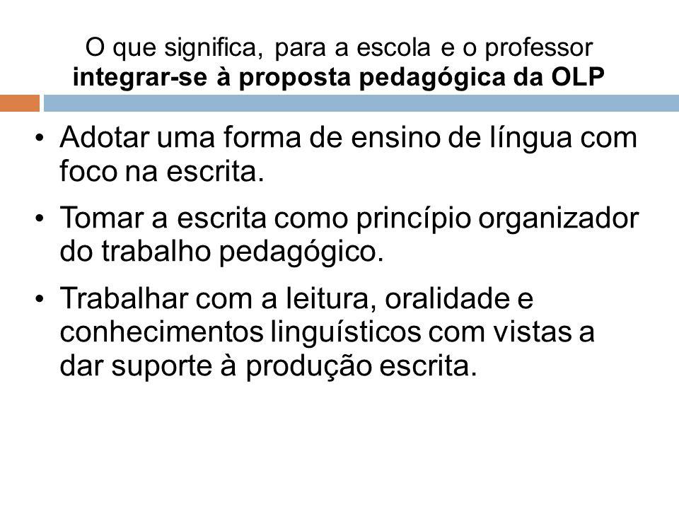 O que significa, para a escola e o professor integrar-se à proposta pedagógica da OLP Adotar uma forma de ensino de língua com foco na escrita. Tomar