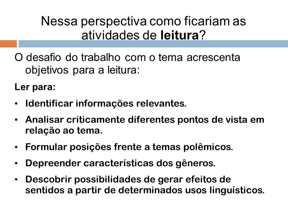 Nessa perspectiva como ficariam as atividades de leitura? O desafio do trabalho com o tema acrescenta objetivos para a leitura: Ler para: Identificar