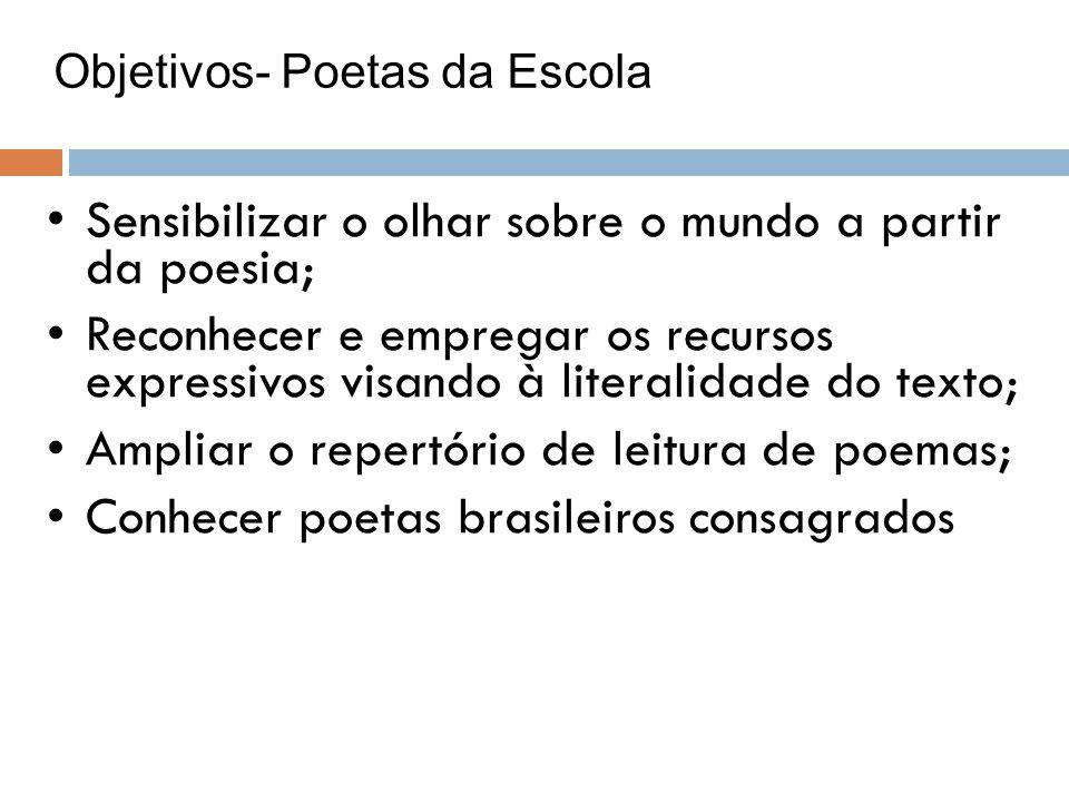Objetivos- Poetas da Escola Sensibilizar o olhar sobre o mundo a partir da poesia; Reconhecer e empregar os recursos expressivos visando à literalidad